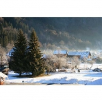 Winter View of Les Vallons (Samoens) from Chez Michelle Self-Catering Apartment