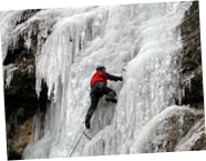 Ice climbing on waterfalls in the Grand Massif, France